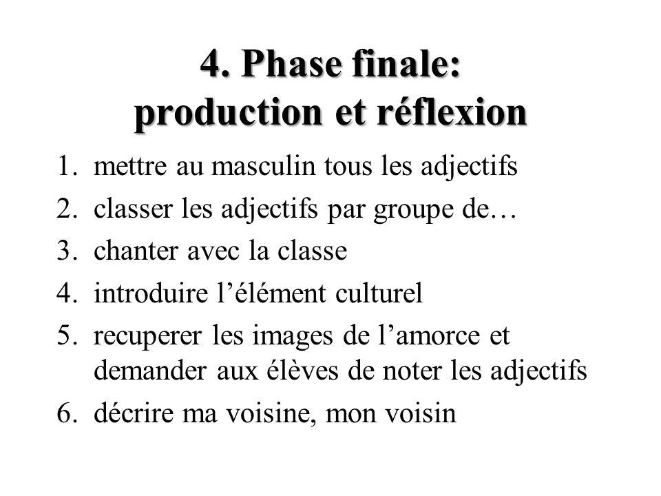 4. Phase finale: production et réflexion
