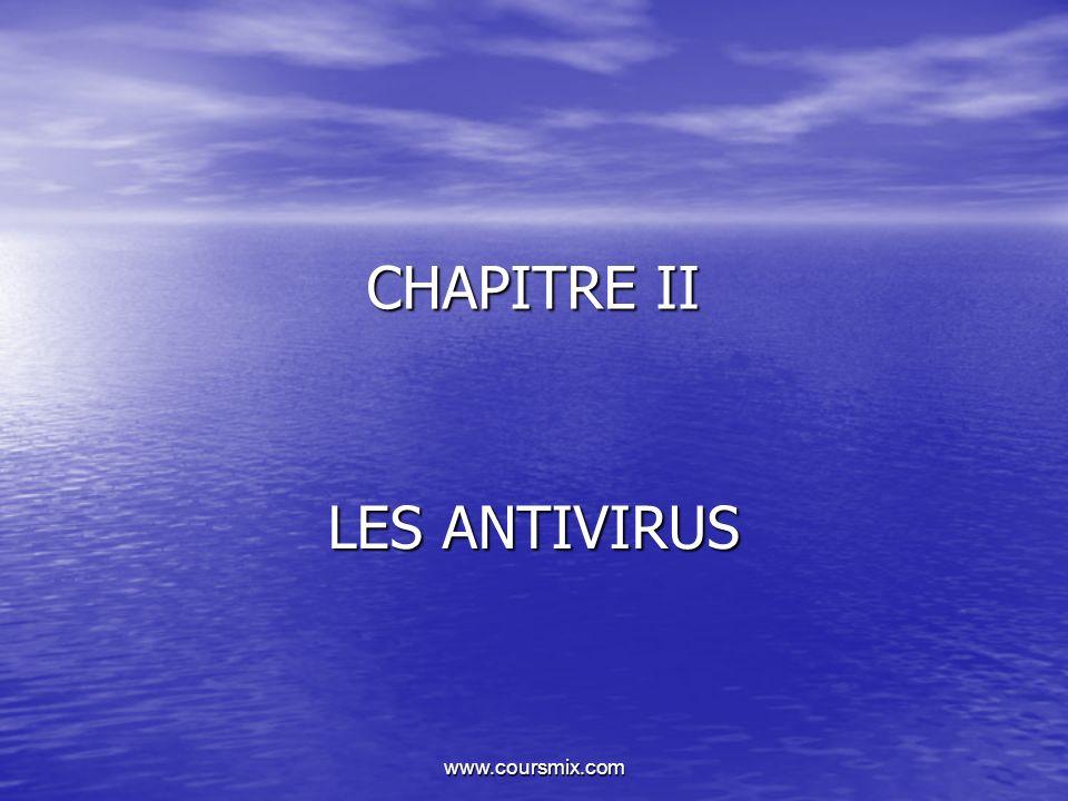 CHAPITRE II LES ANTIVIRUS www.coursmix.com