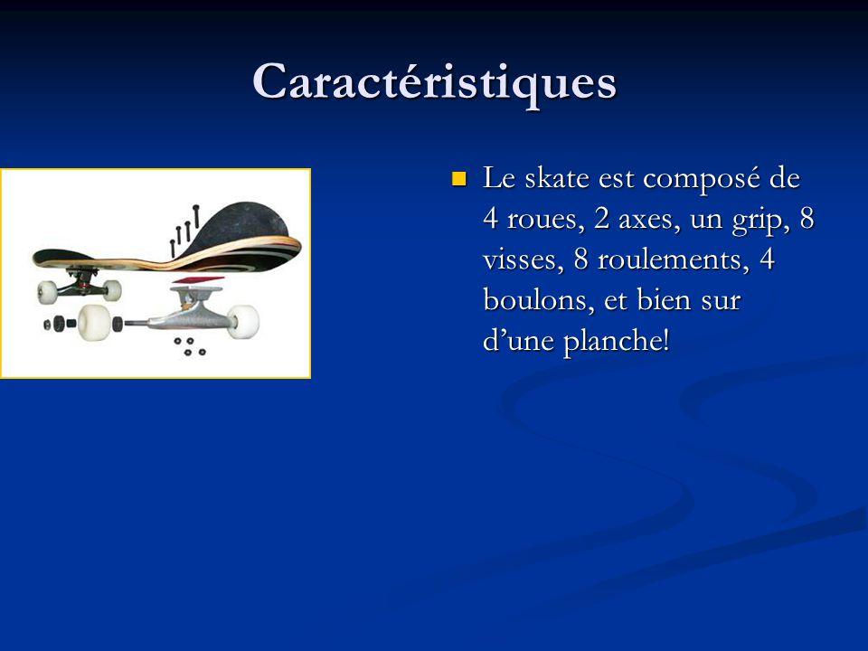 Caractéristiques Le skate est composé de 4 roues, 2 axes, un grip, 8 visses, 8 roulements, 4 boulons, et bien sur d'une planche!