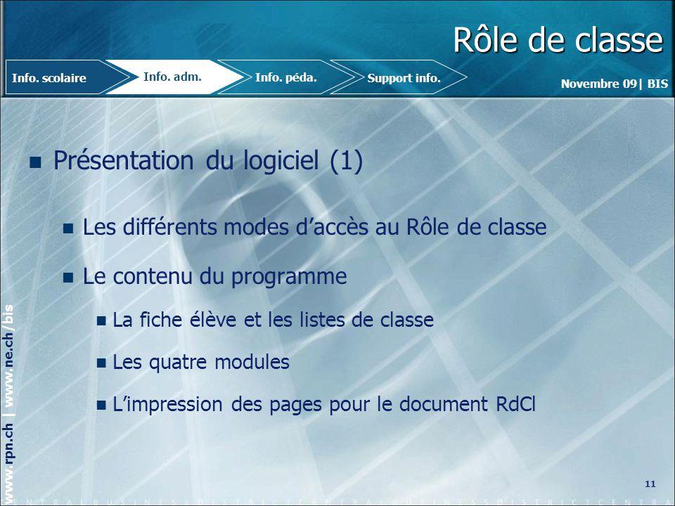 Rôle de classe Présentation du logiciel (1)