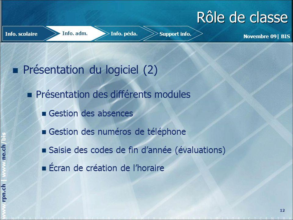 Rôle de classe Présentation du logiciel (2)
