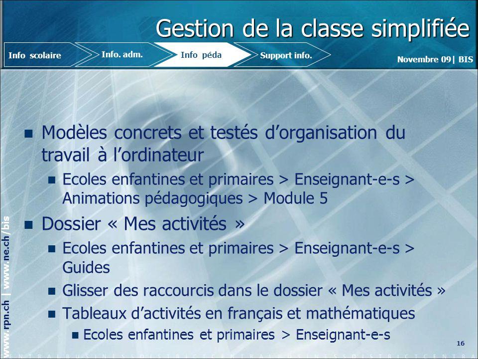 Gestion de la classe simplifiée