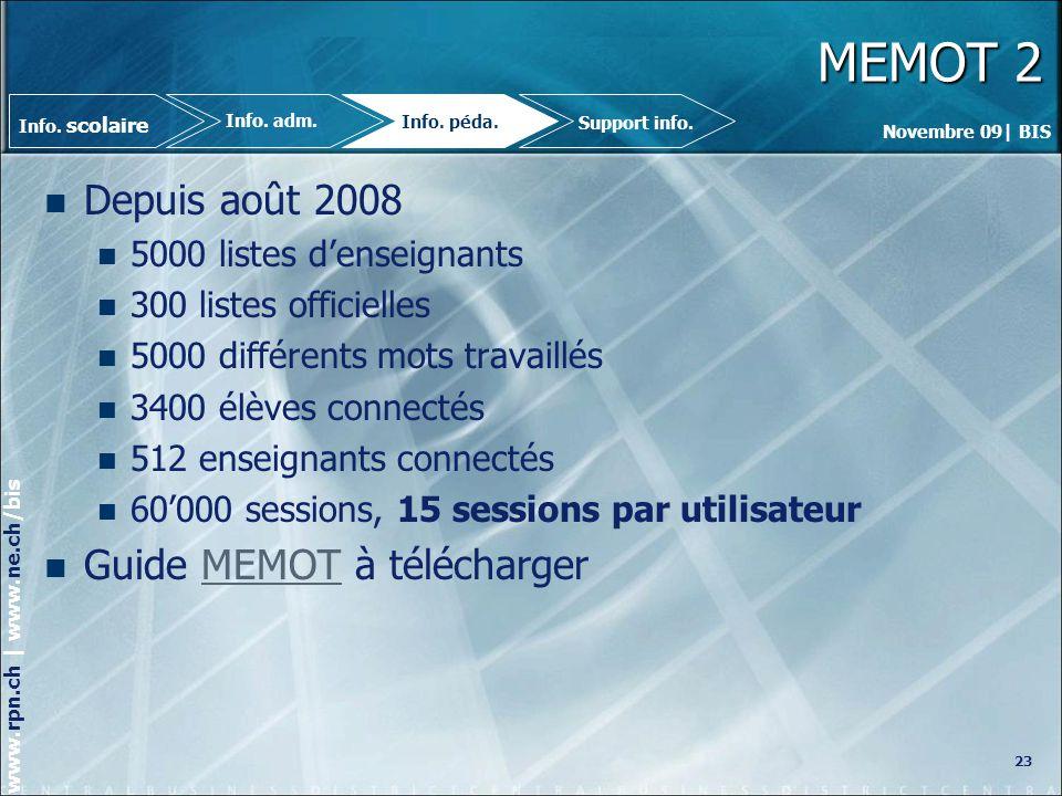 MEMOT 2 Depuis août 2008 Guide MEMOT à télécharger