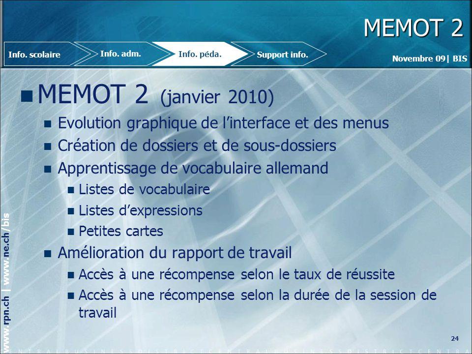 MEMOT 2 Info. scolaire. Info. adm. Info. péda. Support info. MEMOT 2 (janvier 2010) Evolution graphique de l'interface et des menus.