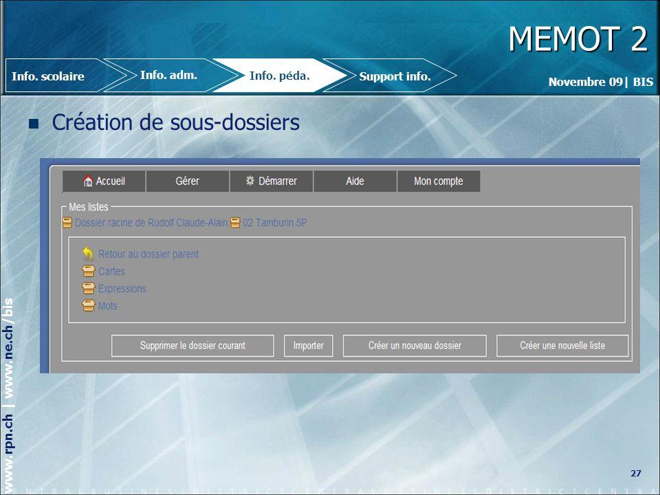 MEMOT 2 Création de sous-dossiers 27 Info. scolaire Info. adm.