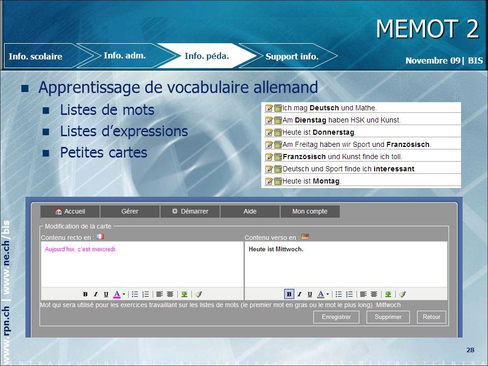 MEMOT 2 Apprentissage de vocabulaire allemand Listes de mots