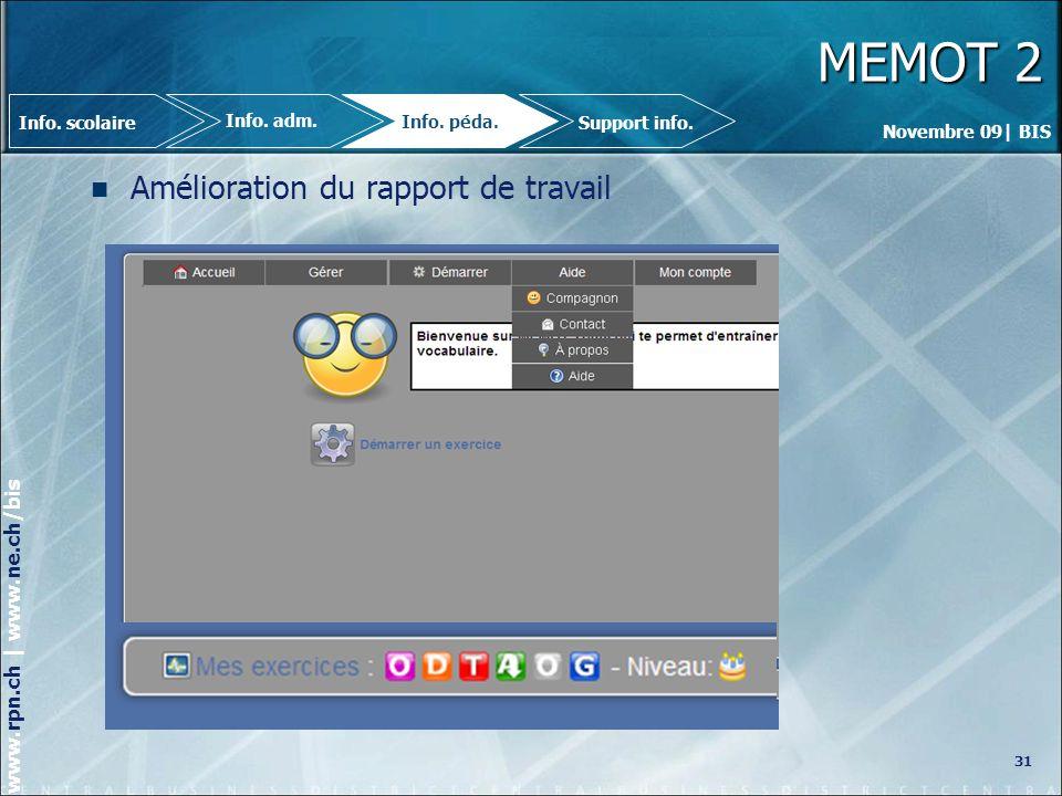 MEMOT 2 Amélioration du rapport de travail 31 Info. scolaire