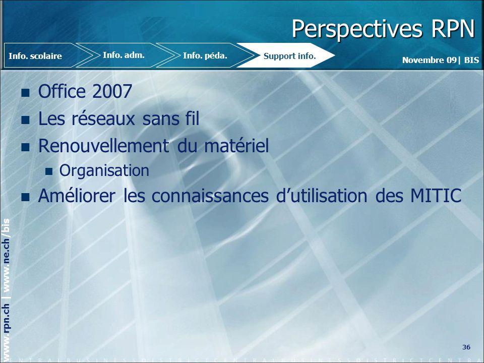 Perspectives RPN Office 2007 Les réseaux sans fil
