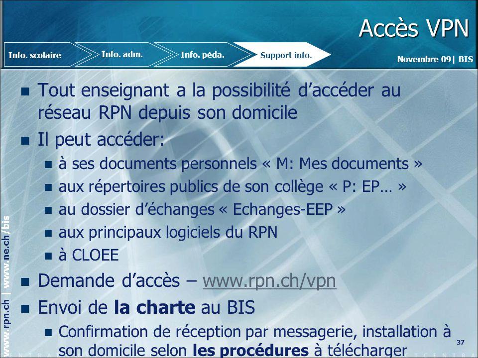 Accès VPN Info. scolaire. Info. adm. Info. péda. Support info. Tout enseignant a la possibilité d'accéder au réseau RPN depuis son domicile.