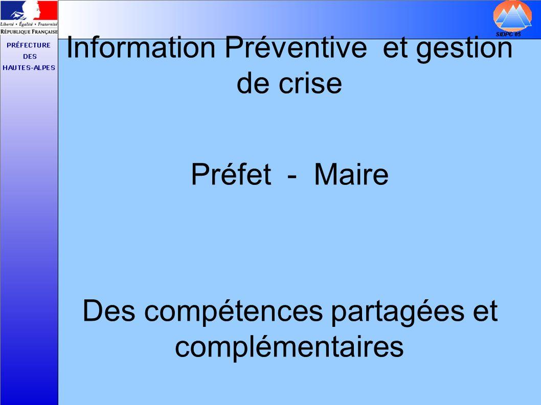 Information Préventive et gestion de crise
