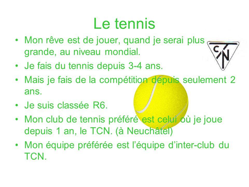 Le tennis Mon rêve est de jouer, quand je serai plus grande, au niveau mondial. Je fais du tennis depuis 3-4 ans.