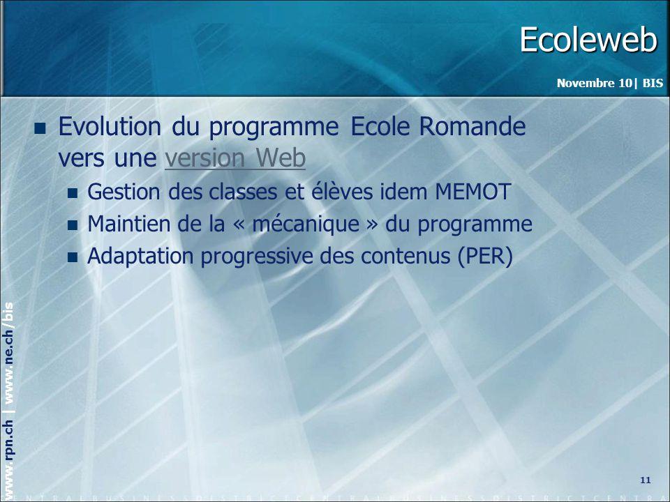 Ecoleweb Evolution du programme Ecole Romande vers une version Web