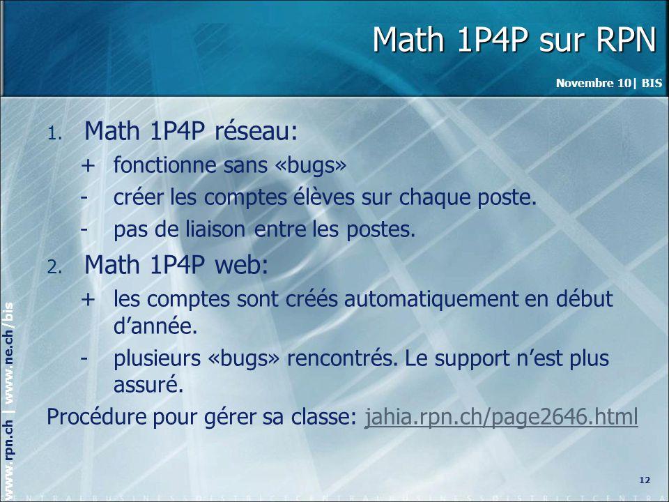 Math 1P4P sur RPN Math 1P4P réseau: Math 1P4P web: