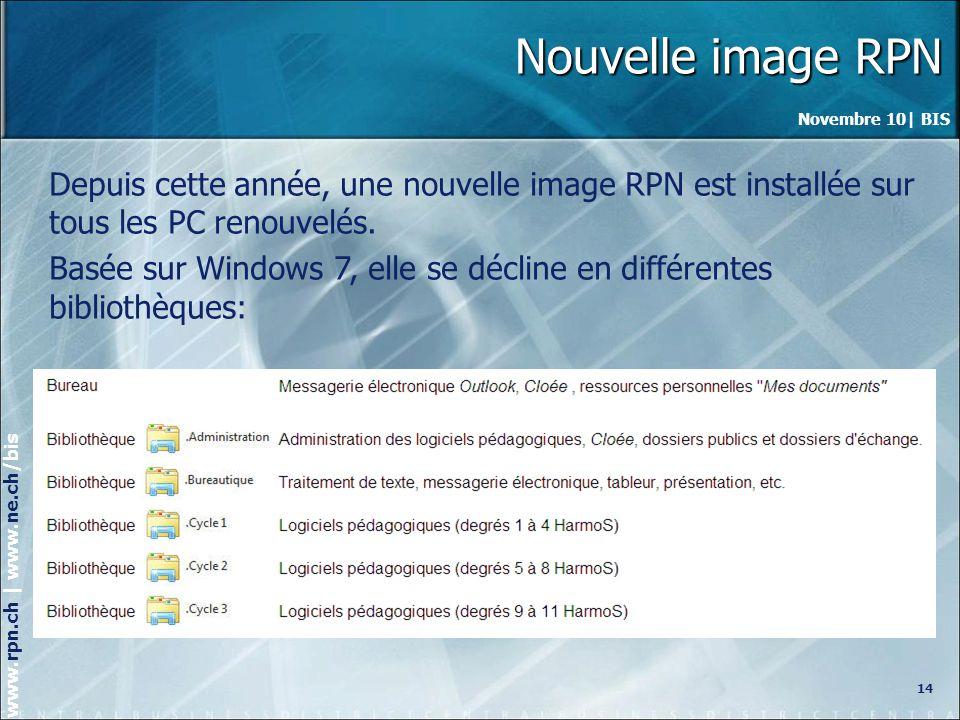 Nouvelle image RPN Depuis cette année, une nouvelle image RPN est installée sur tous les PC renouvelés.