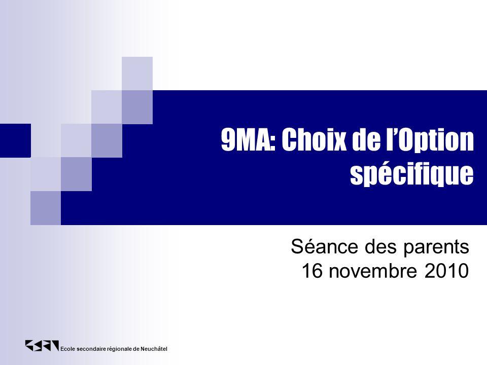 9MA: Choix de l'Option spécifique