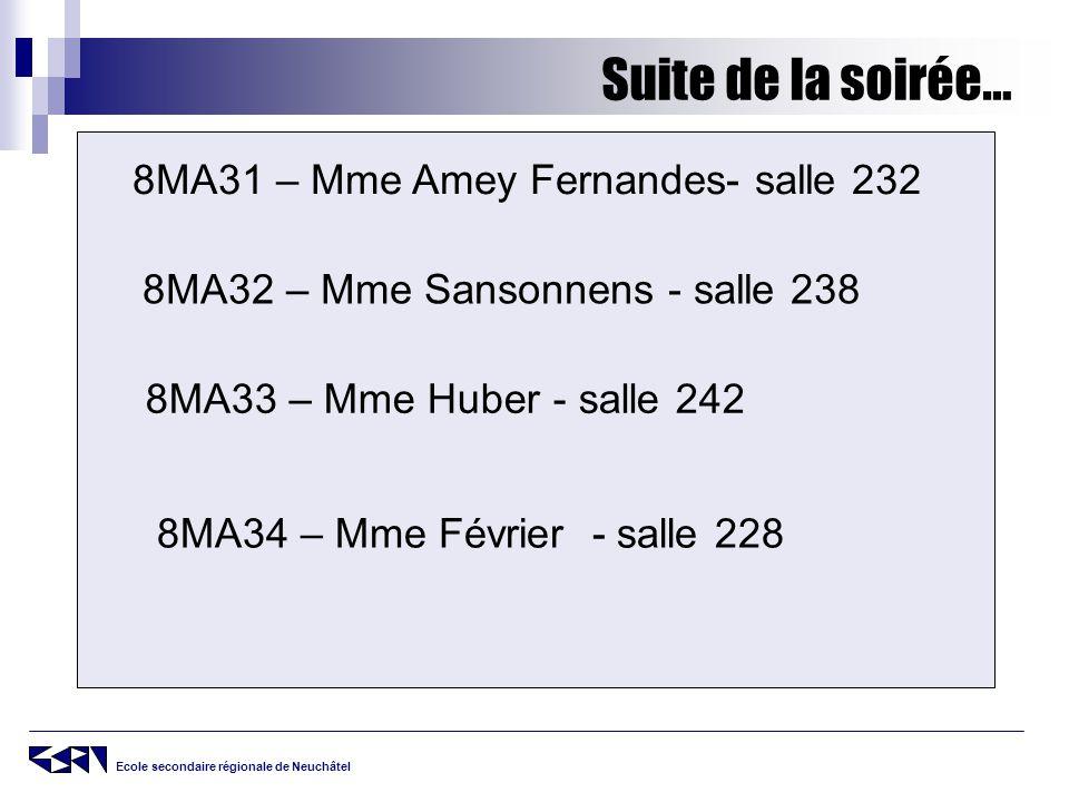 Suite de la soirée… 8MA31 – Mme Amey Fernandes- salle 232