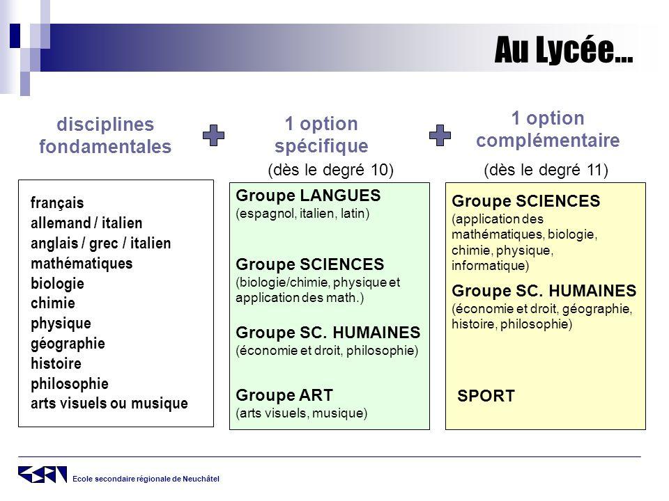 1 option complémentaire disciplines fondamentales