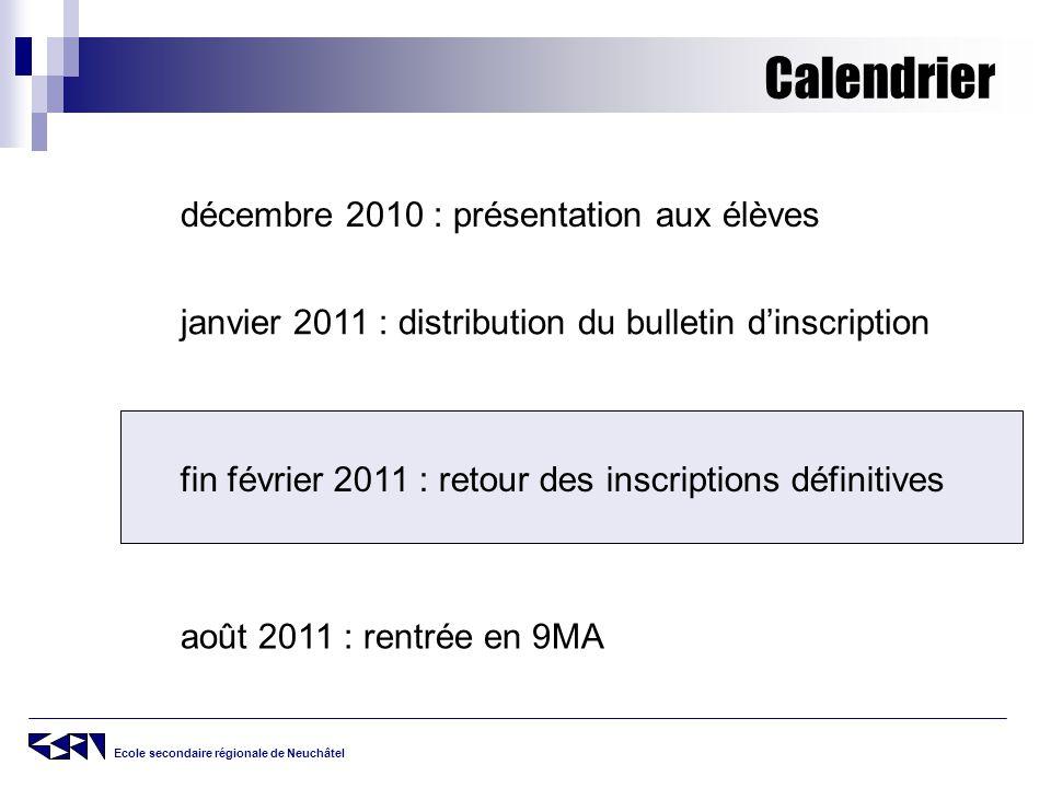 Calendrier décembre 2010 : présentation aux élèves