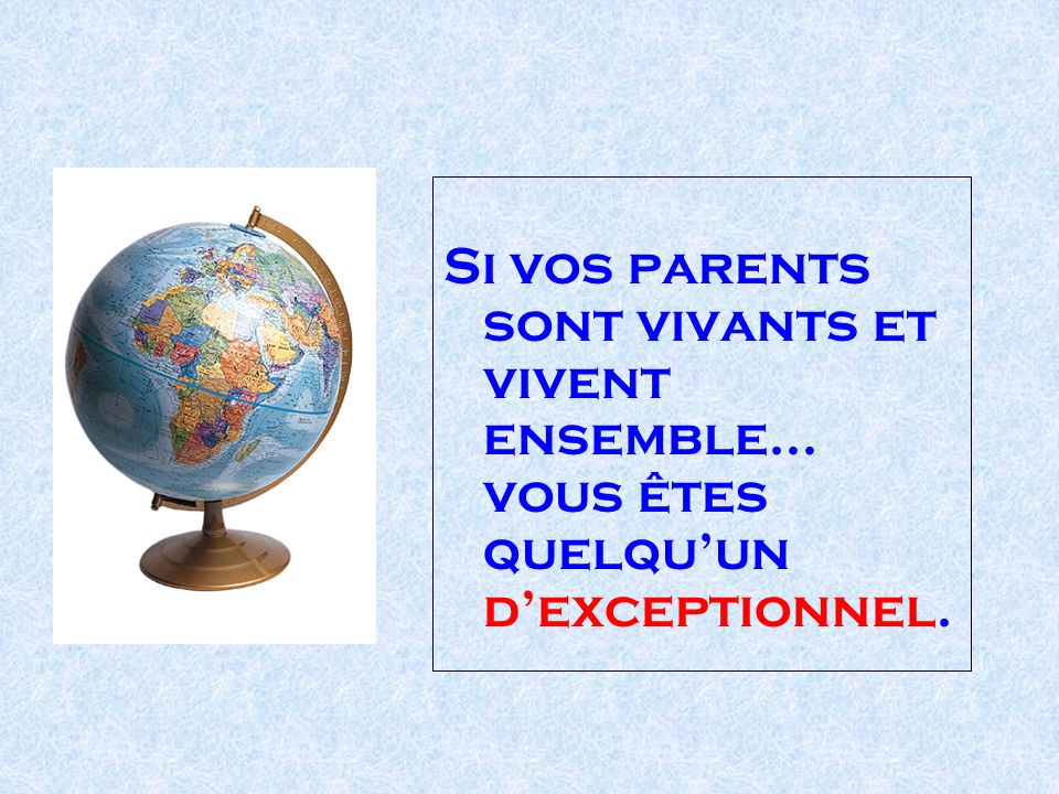 Si vos parents sont vivants et vivent ensemble...