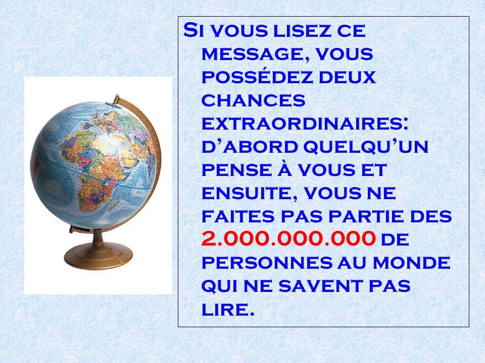 Si vous lisez ce message, vous possédez deux chances extraordinaires: d'abord quelqu'un pense à vous et ensuite, vous ne faites pas partie des 2.000.000.000 de personnes au monde qui ne savent pas lire.