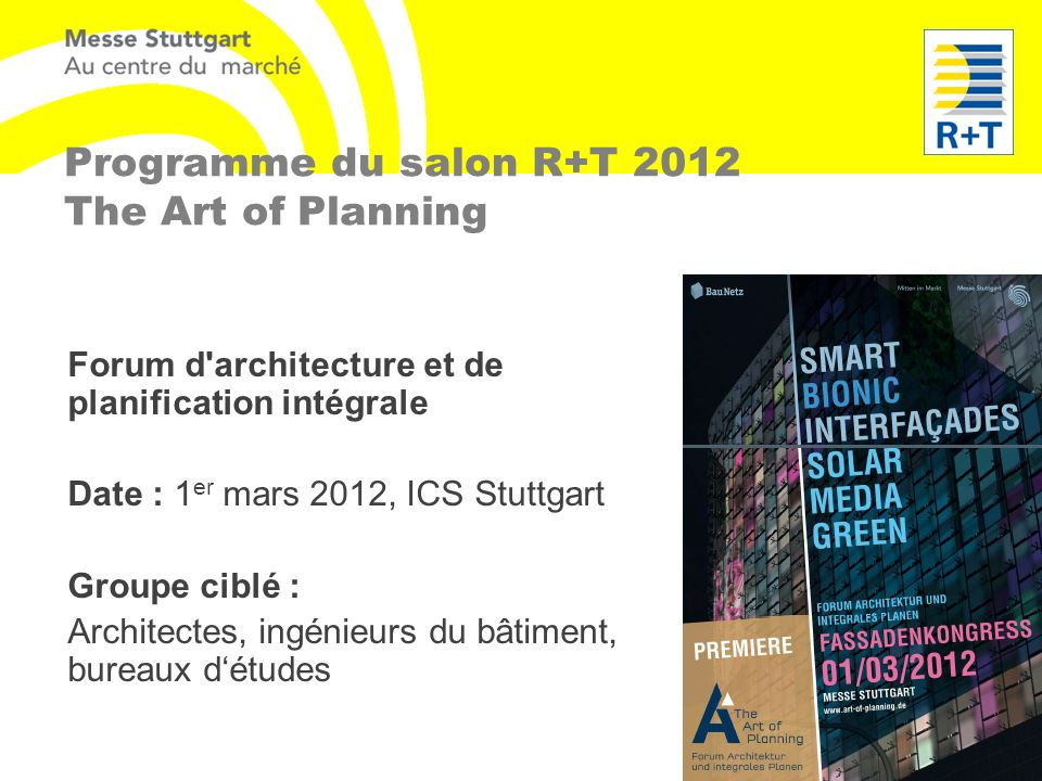 Programme du salon R+T 2012 The Art of Planning