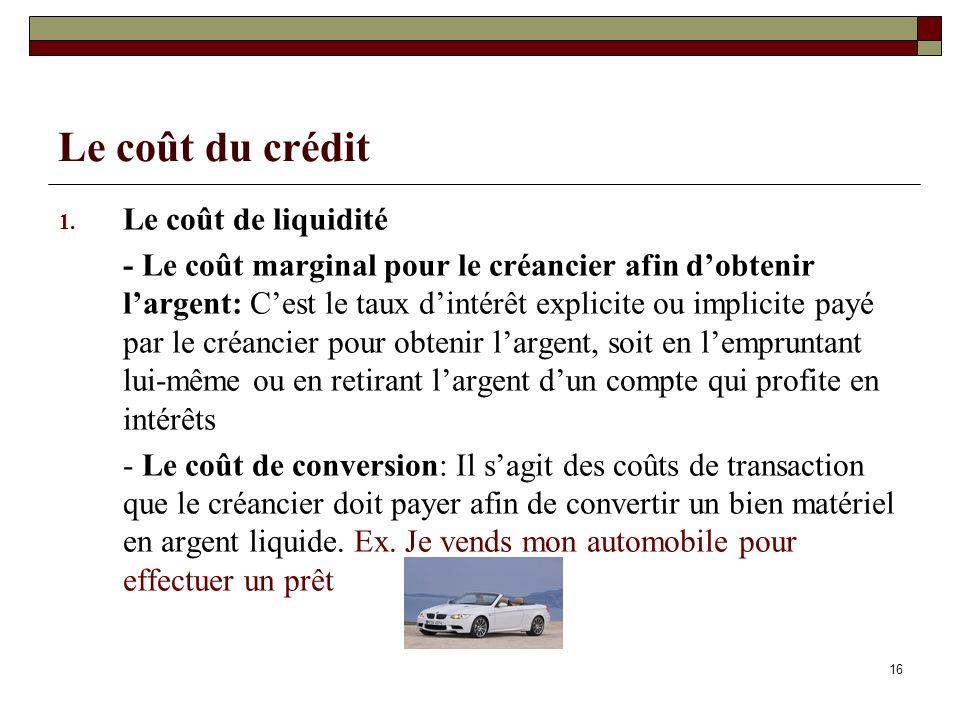 Le coût du crédit Le coût de liquidité