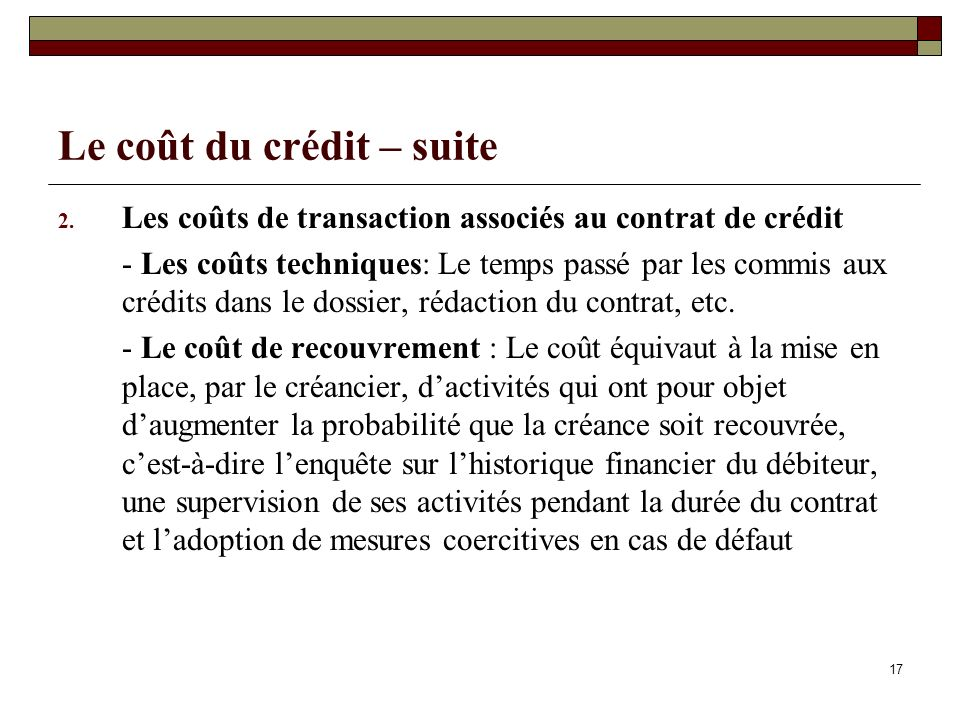 Le coût du crédit – suite