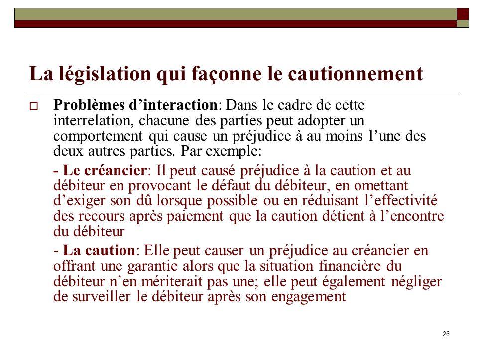 La législation qui façonne le cautionnement