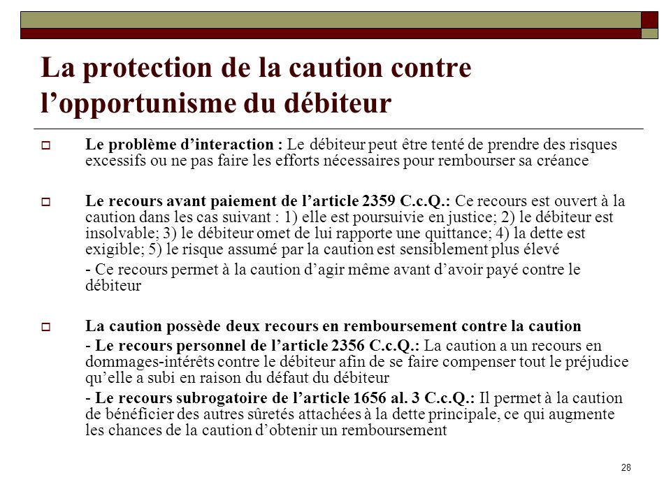 La protection de la caution contre l'opportunisme du débiteur