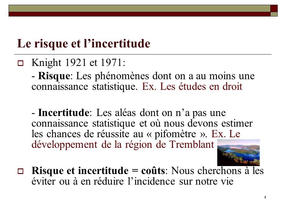 Le risque et l'incertitude