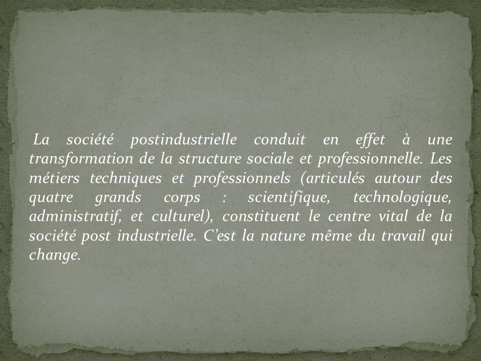 La société postindustrielle conduit en effet à une transformation de la structure sociale et professionnelle.