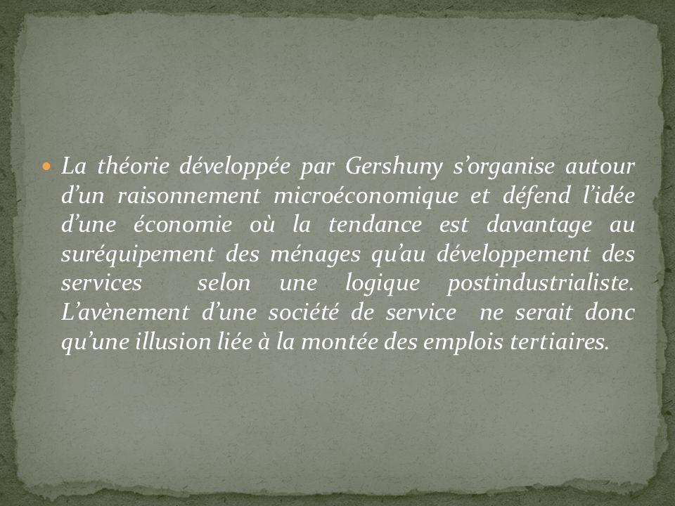 La théorie développée par Gershuny s'organise autour d'un raisonnement microéconomique et défend l'idée d'une économie où la tendance est davantage au suréquipement des ménages qu'au développement des services selon une logique postindustrialiste.