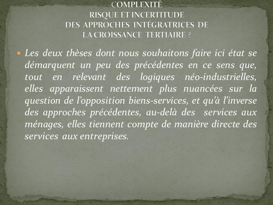COMPLEXITÉ RISQUE ET INCERTITUDE DES APPROCHES INTÉGRATRICES DE LA CROISSANCE TERTIAIRE