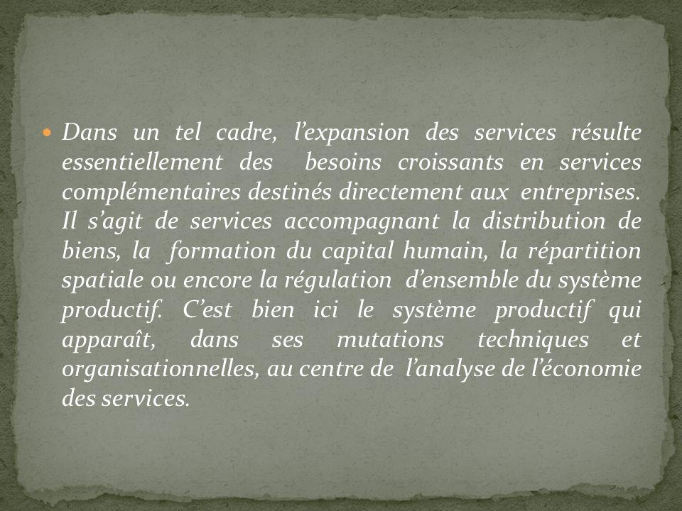 Dans un tel cadre, l'expansion des services résulte essentiellement des besoins croissants en services complémentaires destinés directement aux entreprises.