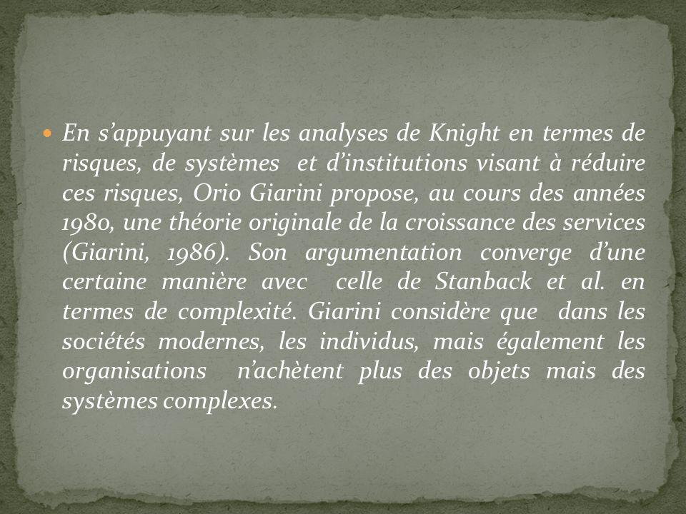 En s'appuyant sur les analyses de Knight en termes de risques, de systèmes et d'institutions visant à réduire ces risques, Orio Giarini propose, au cours des années 1980, une théorie originale de la croissance des services (Giarini, 1986).