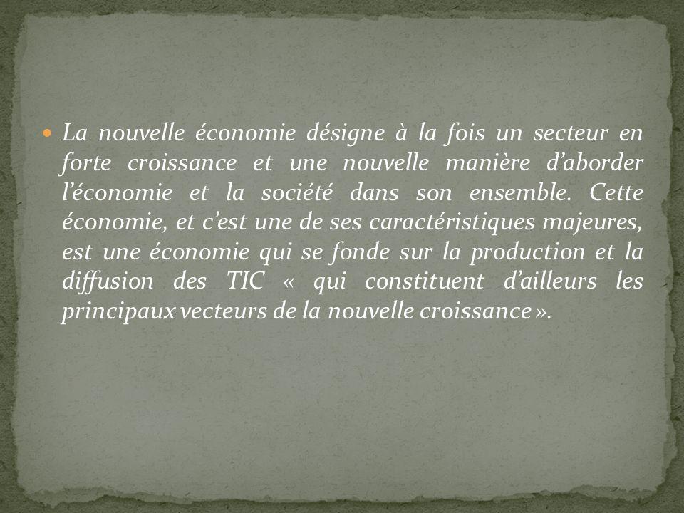 La nouvelle économie désigne à la fois un secteur en forte croissance et une nouvelle manière d'aborder l'économie et la société dans son ensemble.