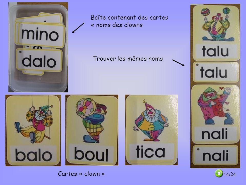 Boîte contenant des cartes « noms des clowns
