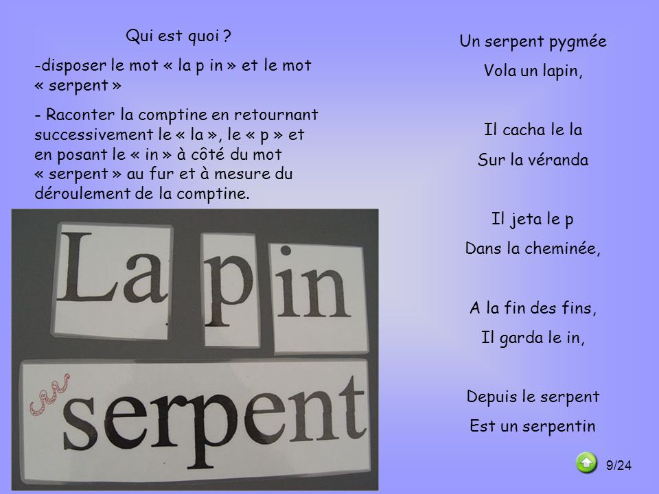 disposer le mot « la p in » et le mot « serpent »