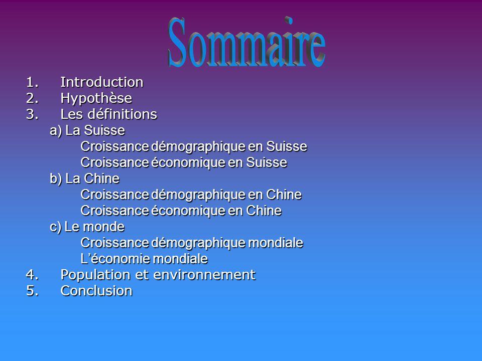 Sommaire Introduction. Hypothèse. Les définitions. a) La Suisse. Croissance démographique en Suisse.