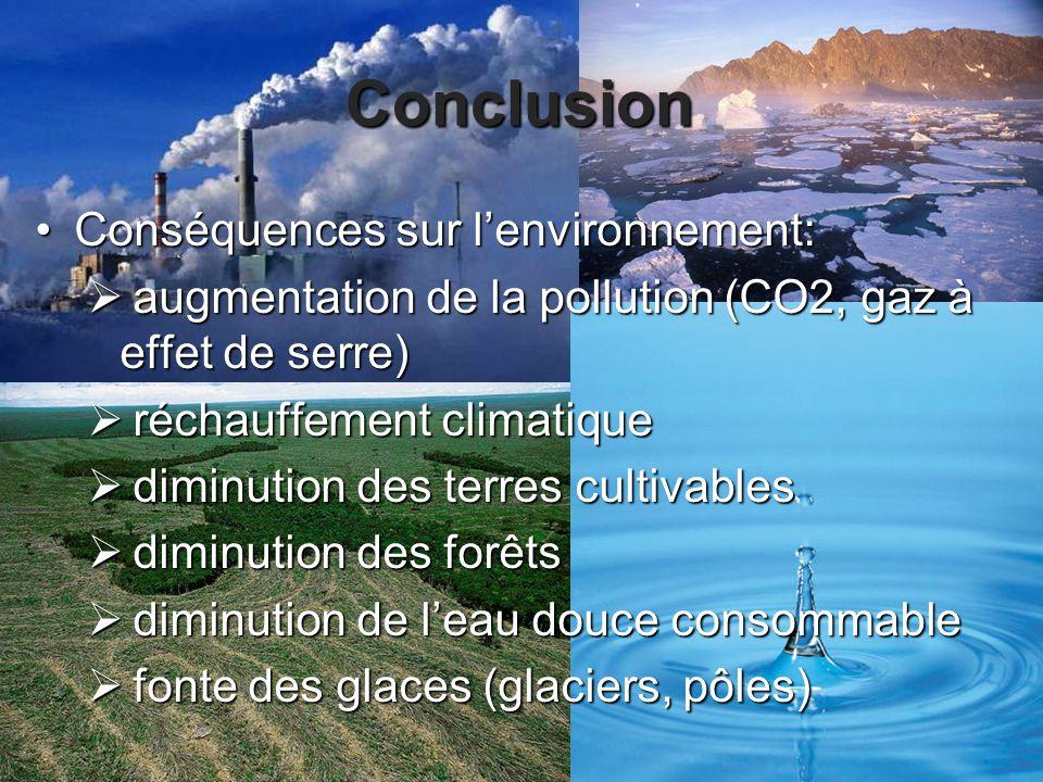 Conclusion Conséquences sur l'environnement: