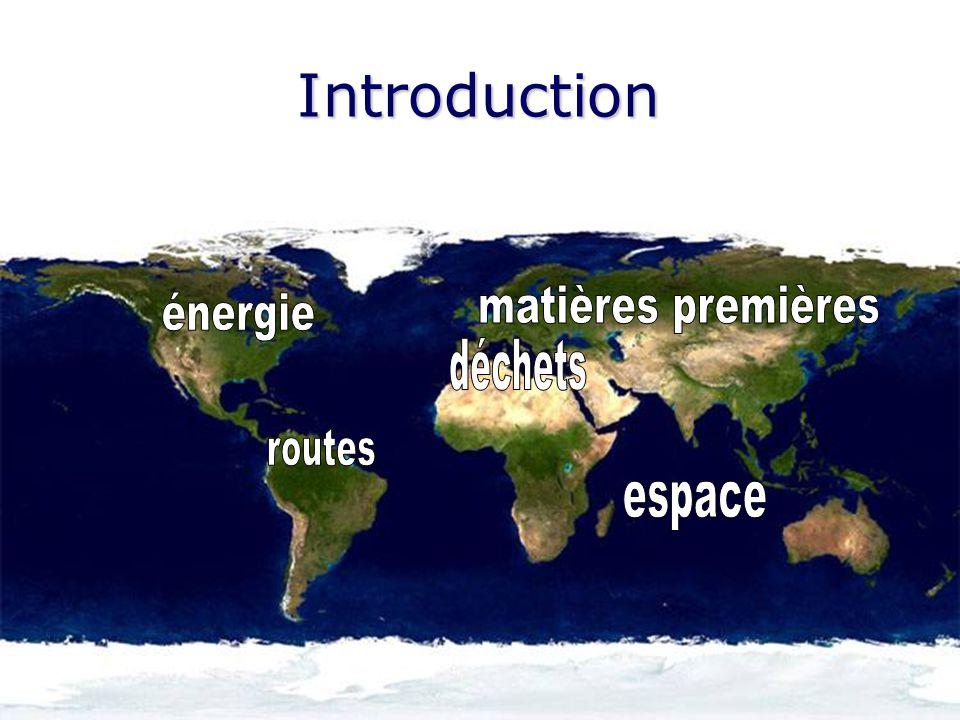 Introduction matières premières énergie déchets routes espace