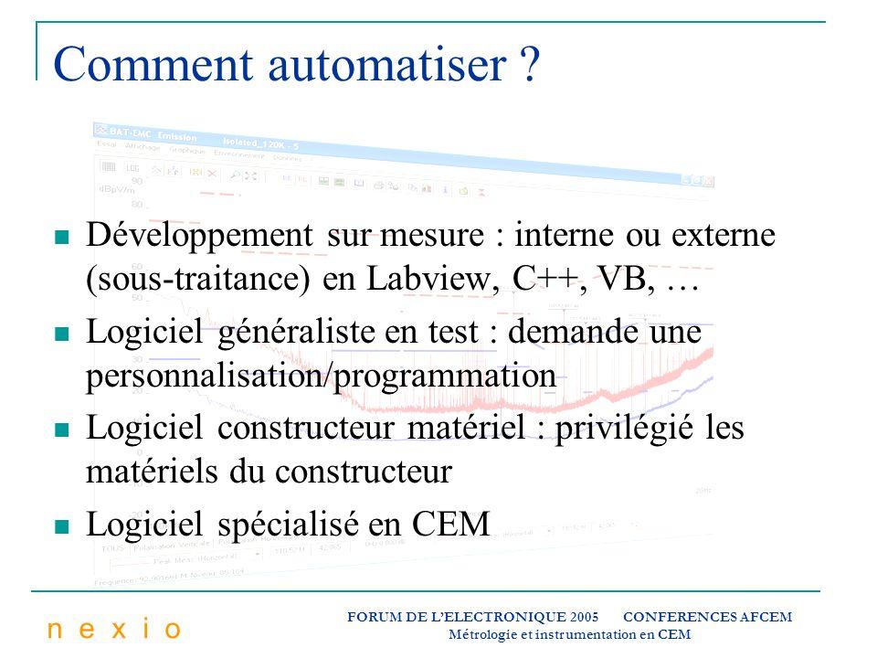 Comment automatiser Développement sur mesure : interne ou externe (sous-traitance) en Labview, C++, VB, …