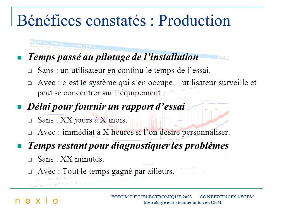 Bénéfices constatés : Production