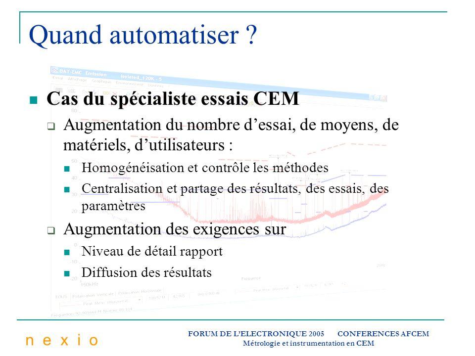 Quand automatiser Cas du spécialiste essais CEM