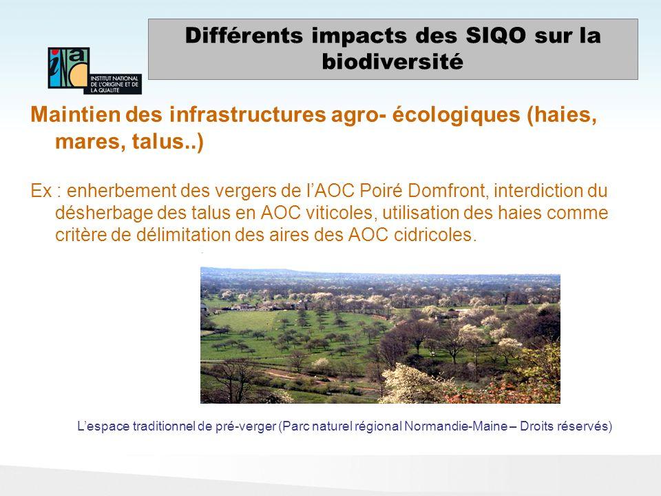 Différents impacts des SIQO sur la biodiversité