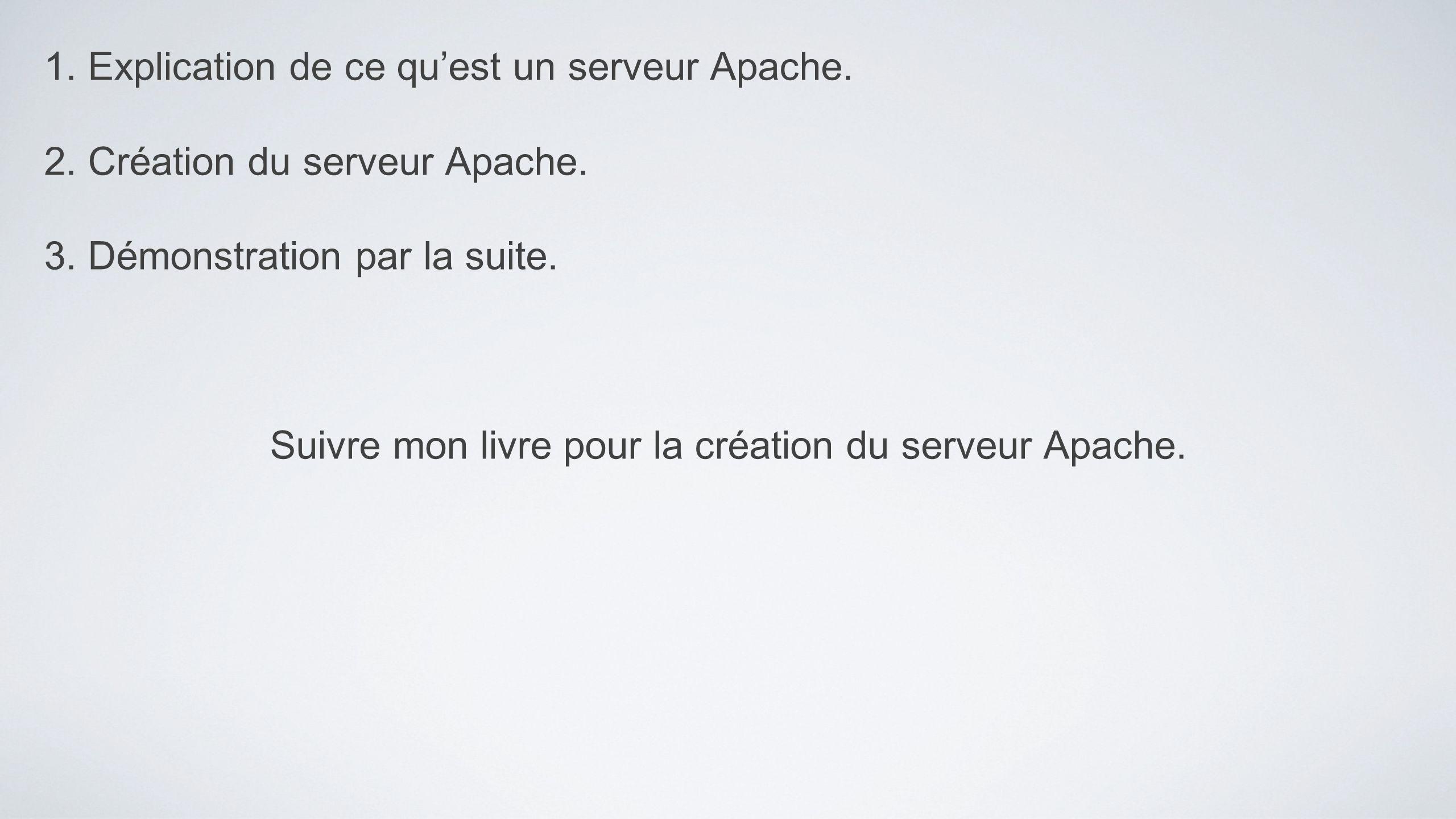 Suivre mon livre pour la création du serveur Apache.