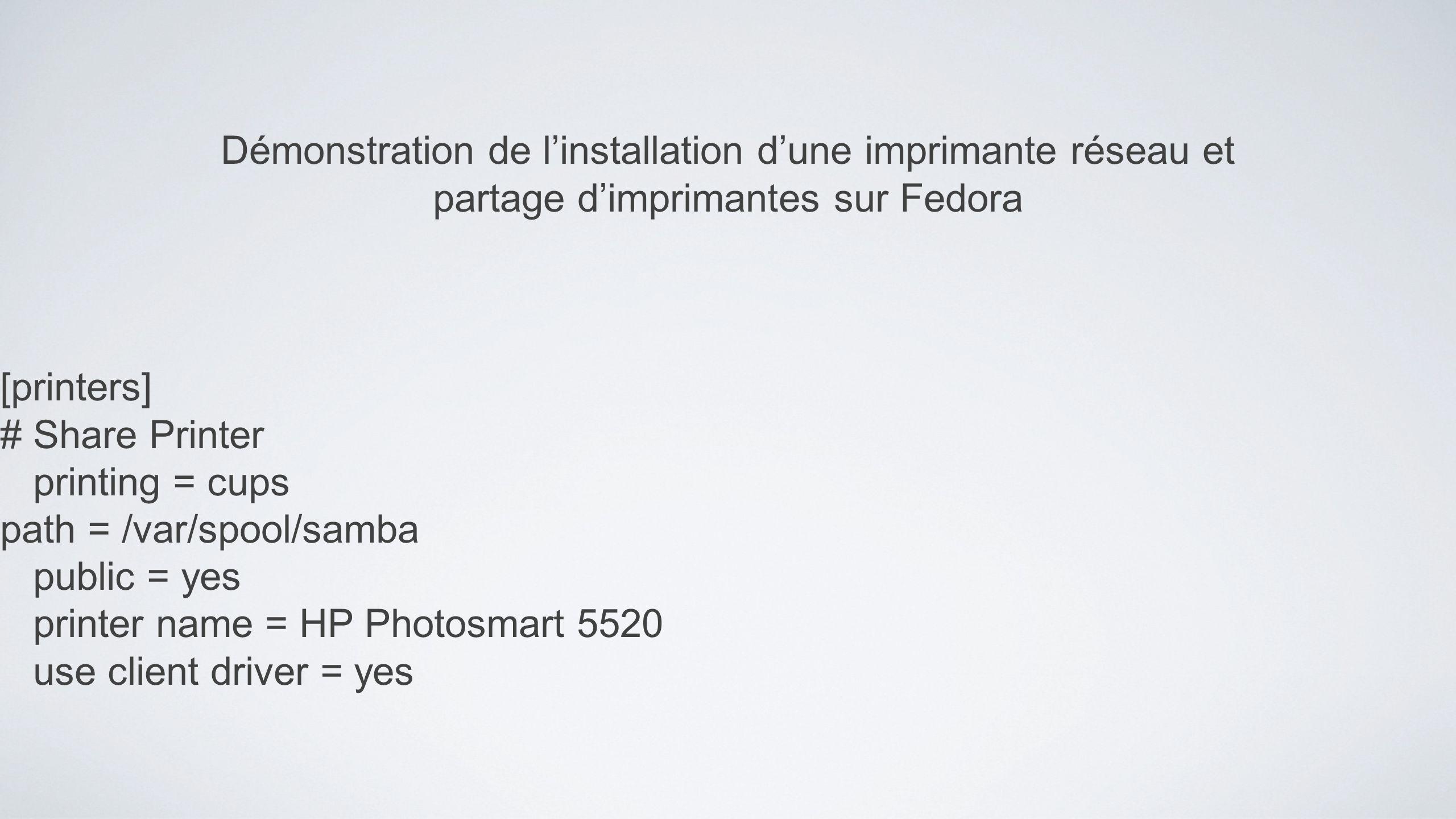 Démonstration de l'installation d'une imprimante réseau et