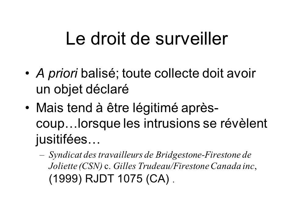 Le droit de surveiller A priori balisé; toute collecte doit avoir un objet déclaré.
