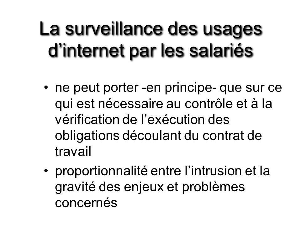 La surveillance des usages d'internet par les salariés