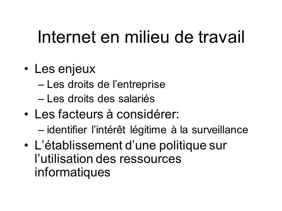 Internet en milieu de travail